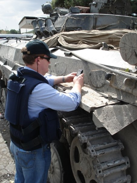 Scripting on the side of a tank during the Georgia War